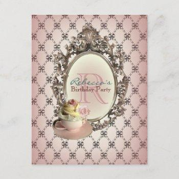 victorian floral cupcake english tea party invitation