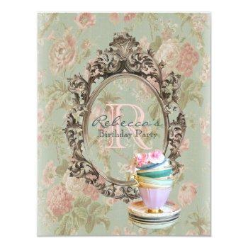 victorian floral cupcake english tea party invitation