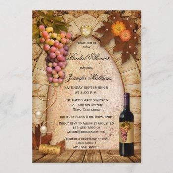 vineyard wine theme bridal shower invitation