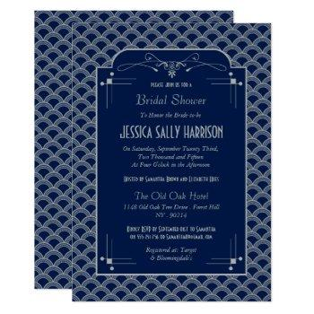 vintage 1920's art deco gatsby bridal shower invitation