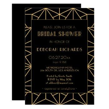 vintage 1920s art deco geoemtric bridal shower invitation