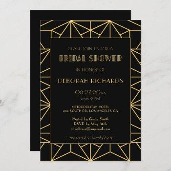 vintage 1920s art deco geoemtric bridal shower invitation
