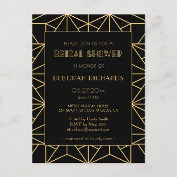 vintage 1920s art deco geoemtric bridal shower postcard