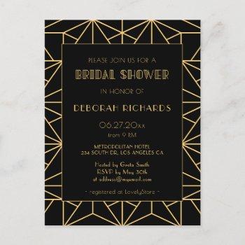 vintage 1920s art deco geometric bridal shower postcard