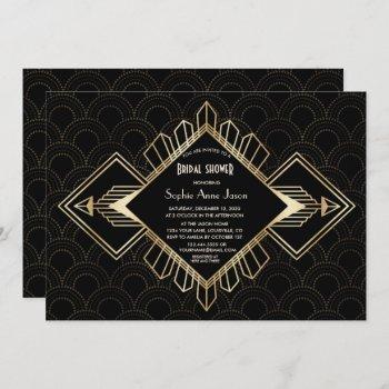 vintage 20s gold black great gatsby bridal shower invitation