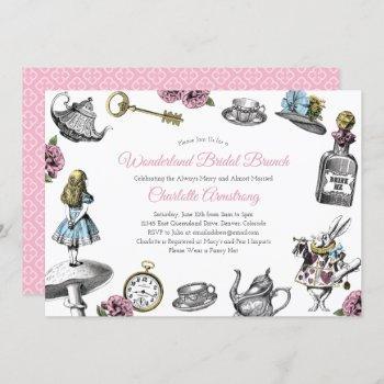 vintage alice in wonderland bridal brunch invitation
