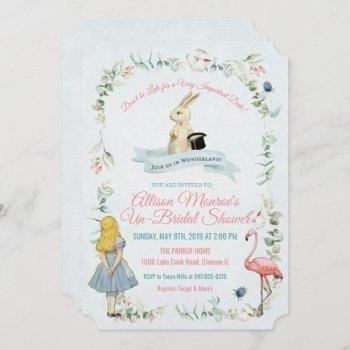 vintage alice in wonderland bridal shower invitation