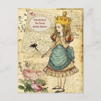 vintage alice in wonderland princess bridal shower invitation