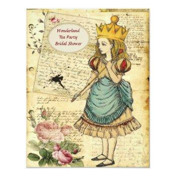 vintage alice in wonderland princess bridal shower invitation