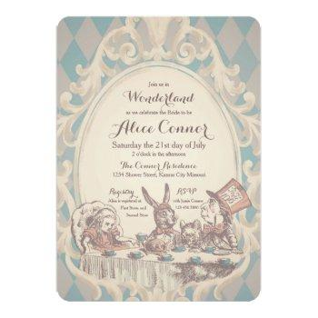 vintage alice in wonderland shower invitations