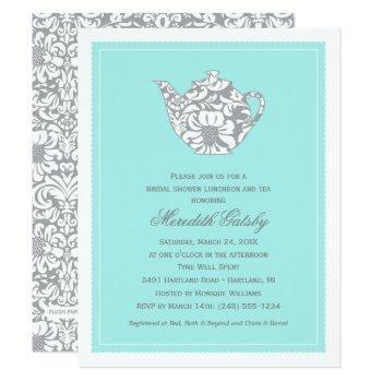 vintage aqua blue wedding bridal shower tea party invitation
