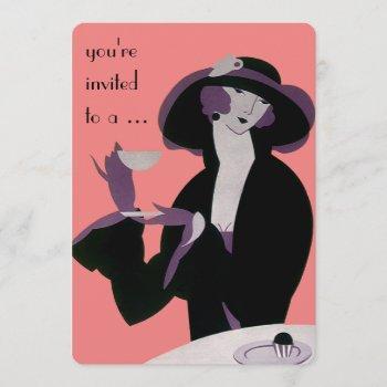 vintage art deco afternoon tea party bridal shower invitation