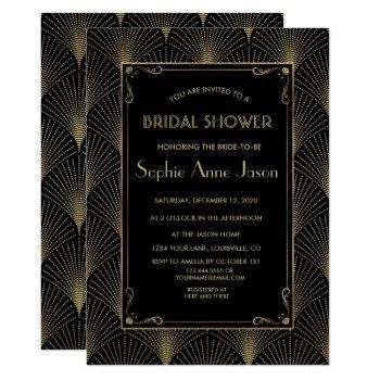 vintage art deco great gatsby bridal shower invite