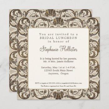 vintage baroque elegant golden shell bridal shower invitation