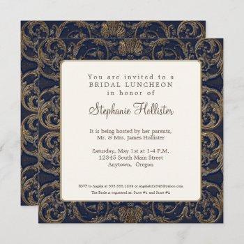 vintage baroque elegant navy blue bridal shower invitation
