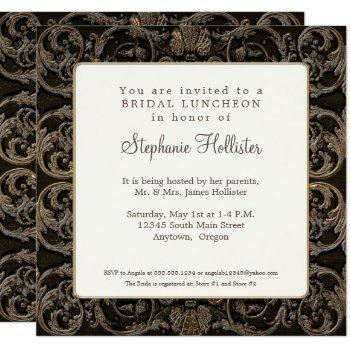 vintage baroque shell black n golden bridal shower invitation