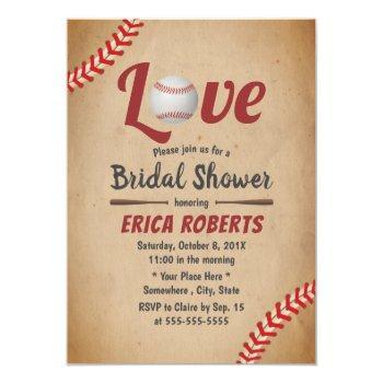 vintage baseball love sports theme bridal shower invitation
