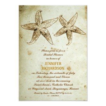 vintage beach bridal shower invitations