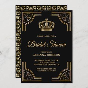 vintage black gold ornate crown bridal shower invitation