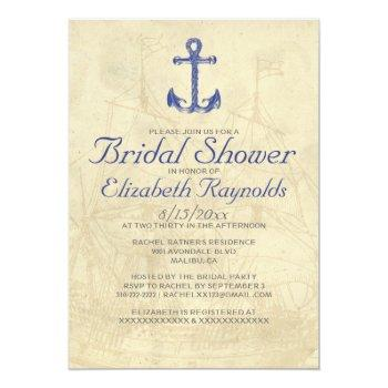 vintage boat bridal shower invitations