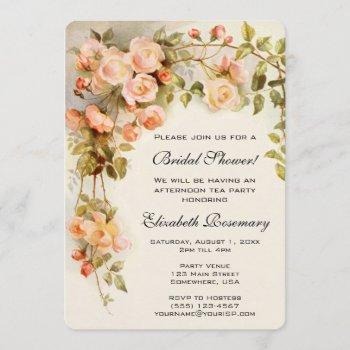 vintage bridal shower antique roses flowers floral invitation
