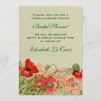 vintage bridal shower, red poppy flower floral invitation