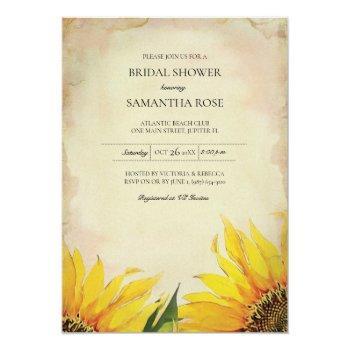 vintage bridal shower sunflower invitation