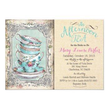 vintage bridal shower tea invitation