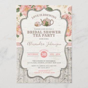 vintage bridal shower tea party dusty pink floral invitation