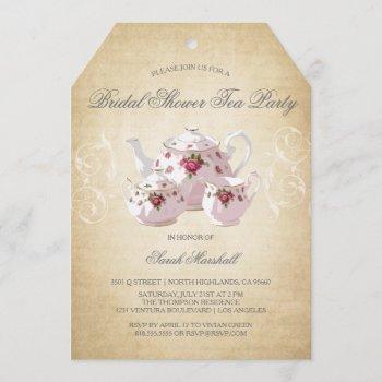 vintage bridal shower tea party invitation