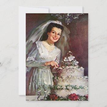 vintage bride cutting wedding cake bridal shower invitation