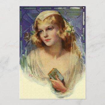 vintage bride holding a bible, bridal shower party invitation