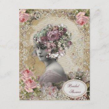vintage bride with jewels & flowers bridal shower invitation