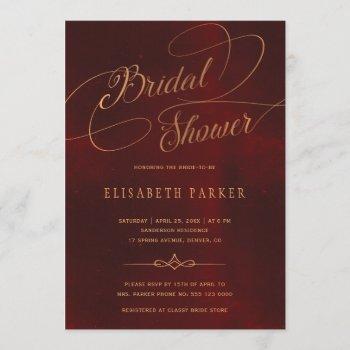 vintage burgundy gold calligraphy bridal shower invitation