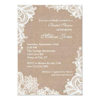 vintage burlap and lace bridal shower invitation