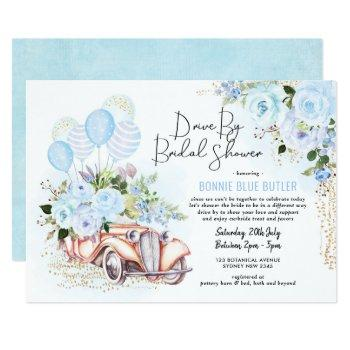 vintage car blue floral drive by bridal shower invitation