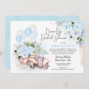 vintage car blue floral drive by bridal shower invitation