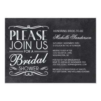 vintage chalkboard bridal shower invitation