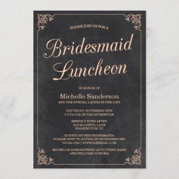 vintage chalkboard bridal shower luncheon invitation