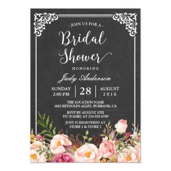 vintage chalkboard frame floral bridal shower invitation