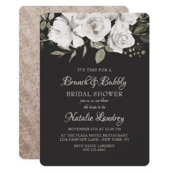 vintage cherish brunch & bubbly bridal shower invitation