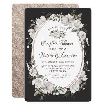 vintage cherish oval frame couple's wedding shower invitation