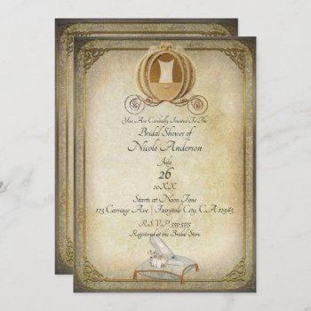 vintage cinderella carriage slipper bridal shower invitation