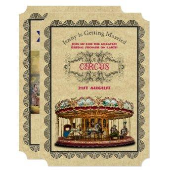 vintage circus bridal shower carnival carousel invitation