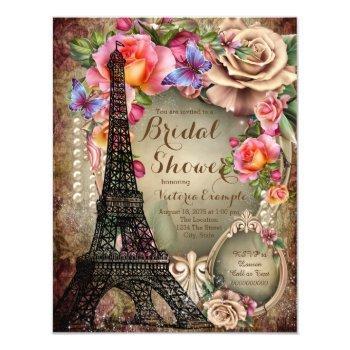 vintage eiffel tower paris bridal shower invitation