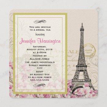 vintage eiffel tower with pink flowers bridal tea invitation