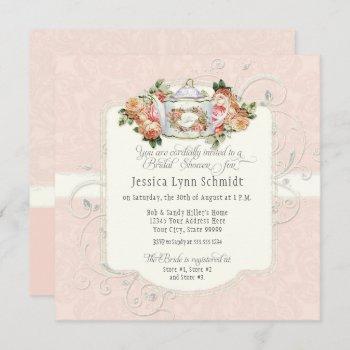 vintage elegant blush rose floral bridal shower  invitation