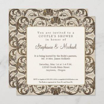 vintage elegant cream n gold shell couples shower invitation