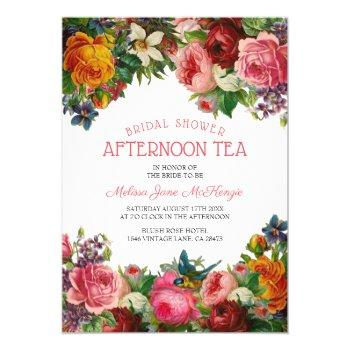 vintage floral | bridal afternoon tea invitation
