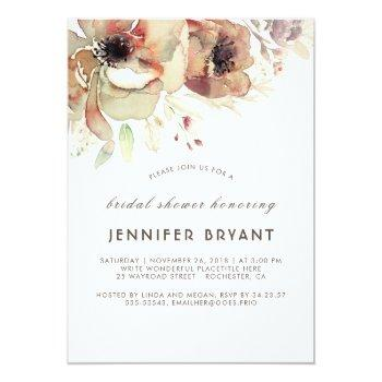 vintage floral watercolors fall bridal shower invitation